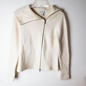 Ann Taylor LOFT Asymmetrical Zip Wool Cardigan